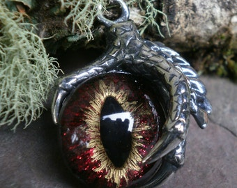 Gothic Steampunk Single Claw Pendant with Red Black Eye