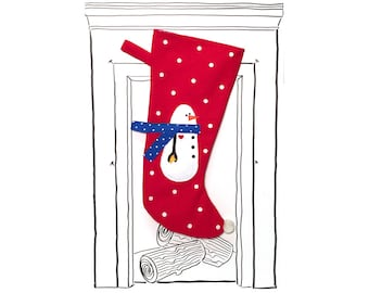 "Christmas Stocking Red Snowman with Polka Dots, 23"" x 11"", Fully Lined, Handmade, Super Fun Twist on the Traditional"