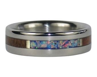 Blue Fire Lab Opal Titanium Ring with Dark Koa Wood