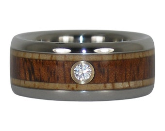 Diamond Wedding Band with Mango and Koa Wood