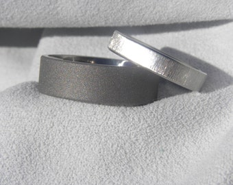 Titanium Ring Set or His and Hers Wedding Bands, Sandblasted and Frost Finish