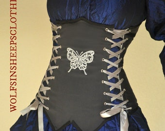 Underbust Corset Bodice Embroidered Steel Boned Renaissance