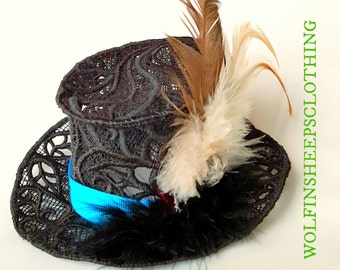 Black Embroidered Lace Mini Top Hat with Feathers
