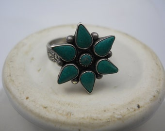 Turquoise Ring Repurposed Vintage Jewelry Part on Adjustable Ornate Silver Ring Band Real Stone in Sterling Silver Up Cycled Boho Tribal
