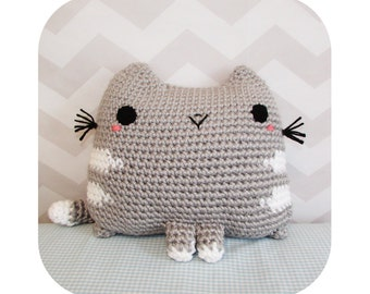INSTANT DOWNLOAD - fat cat throw pillow giant plushie - PDF crochet pattern