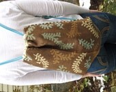 Cinch Sack - BackPack - Drawstring Bag - Upcycled Materials - teal & taupe