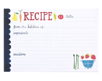 Fruits and Veggies Recipe Cards Set of 50 // 1canoe2 // hand illustrated