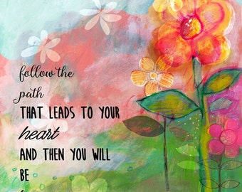 Follow The Path, Inspirational Mixed Media Art, Colorful Wall Art
