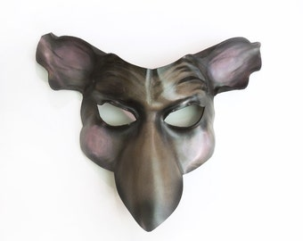 Mouse or Rat Leather Mask grey brown black pink