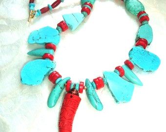 Wire Wrapped Carved Cinnabar Talon, Slab Turquoise, Red Coral, Gift for Her, Necklace, Native American, Tribal, Bohemian, Red Cow Bone