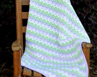 Lavender White and Green Striped Baby Blanket Crochet Baby Afghan Carseat Cover Baby Boy Shower Baby Gift READY TO SHIP