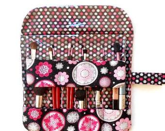 Black Pink Makeup Brush Case, Floral Cosmetic Brush Holder, Travel Makeup Roll Up, Brushes Organizer, Makeup Brush Bag, Travel Brush Carrier