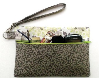 Grey Floral Wristlet, Green Grey White Wallet, Grey Flowers Clutch, Small Zippered Purse, Makeup Phone or Camera Bag, Gadget Pouch