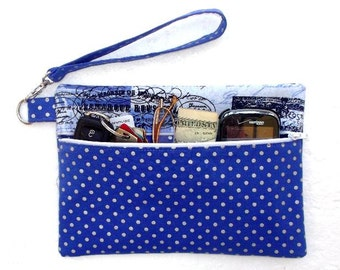 Polka Dots Wristlet, Blue Silver Paris Themed Clutch, Makeup or Phone Holder, Camera or Gadget Bag, Small Ladies Purse, Front Zip Wallet