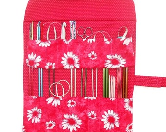 Pink Red Knitting Needles Case, Artist Supply Storage, Makeup Brushes Holder, Crochet Hook Organizer, Double Pointed Needle DPN Roll