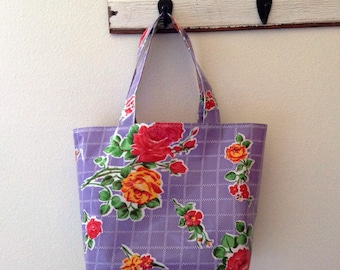 Beth's Medium Lilac Vintage Rose Oilcloth Tote Bag