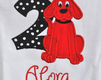 Clifford the big red dog birthday shirt with name monogrammed