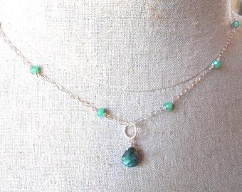 Green Labradorite and Moonstone Drop Necklace