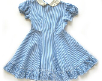 Girls Vintage Blue and White Striped Dress with Ruffle Hem Peter Pan Collar Puff Sleeves / Girls Party Dress / Breast 24