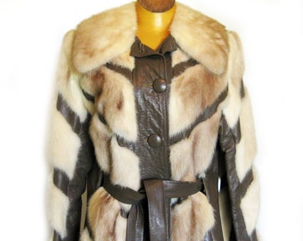 Vintage 60s 70s MOD Mink Fur and Leather Coat - Chevron Pattern Belted / May and Co