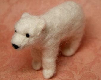 OOAK Needle Felted Polar Bear Cub Fiber Arts Collectible Miniature Stuffed Animal , Doll's Pet, home decoration, baby gift, nature