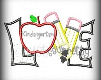 Love Kindergarten Pencils Embroidery Applique Design
