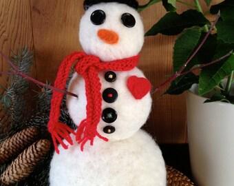 Snowman, Needle felted, handmade, gift, scarf, #1