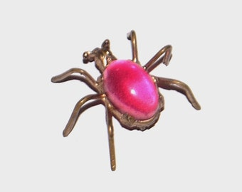 1980s vintage pin / 80s vintage brooch / Pink Belly Spider Brooch