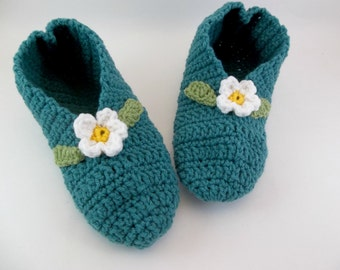 Crochet Slippers for Women Stretchy One Size Teal with Small White Flower