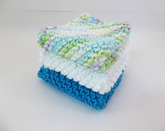 Knit Cotton Cloths Turquoise, Variegated and White Cotton Wash Dish Cloths Set of 3