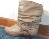 Vintage 80s Tan Leather Slouch Boots \ Sz 10