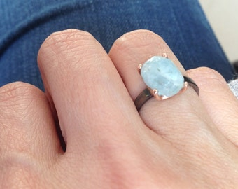 Silver Aquamarine Rock Ring with four pongs