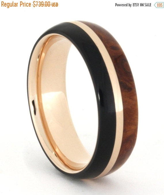 Holiday Sale 10% Off 14k Rose Gold Ring with African Blackwood and Amboyna Burl Wood, Wood Wedding Band