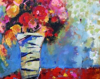 "LARGE FLORAL ABSTRACT ""Resplendent"" Acrylic on 49"" x 59"" canvas Original Art by Elizabeth chapman"