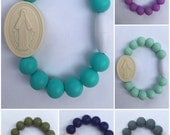 Chews Life Miraculous Medal Adult Bracelet - soft silicone beads and unique medal strung on organic cotton cord
