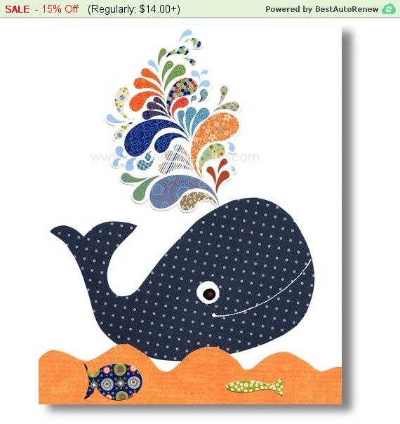Baby Boy Nursery Decor Art Kids Art Kids Room By Galerieanais: Whale Nursery Art Prints Boy Nursery Decor By GalerieAnais