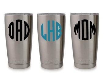 Yeti Decal Monogram Custom 3 Letter Monogram Mom Dad Acrylic Cup Laptop DIY Gift Tumbler Rambler  25 Colors