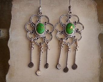 Green Stones in Sterling Silver Flower Style Fringe Dangle Earrings Gypsy Bohemian . Rustic Style Jewley
