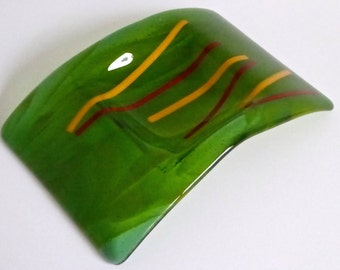 Fused Glass Candle Plate in Green by BPRDesigns