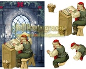 Vintage collage Christmas santa card with 3d decoupage set - Instant download to print yourself
