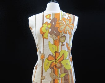 Vintage 60s Top Flower Power MOD Shell Shirt Zipper Sleeveless M L