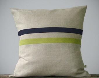 Moss Green and Charcoal Gray Striped Linen Pillow 16x16 - Fall Home Decor by JillianReneDecor - Autumn - Linden Green