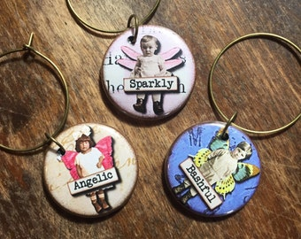 Fairy Words Wine Charms set of 6