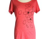 Sakura, Cherry Blossom Organic Women's Scoop Neck T-Shirt, Triblend Heather Red, Screen Printed, Gifts For Her