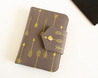 Passport Wallet , Travel Wallet, Passport Holder for Two Passports in Gold Arrows, Ready to Ship