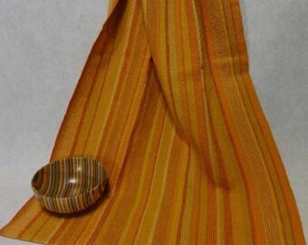 Handwoven Cotton/Linen Towel for Kitchen or Bath - Citrus Towel - Handtowel, Kitchen Towel, Handwoven Towel, Orange Towel