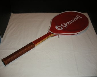 Vintage Spalding Junior Specialist Wooden Tennis Racquet Wood Racket with Cover Man Cave Sporting Collectable