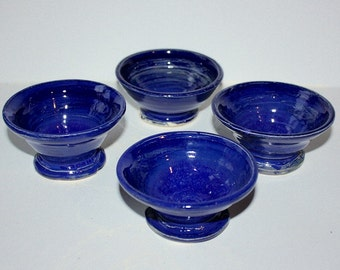 Cobalt Blue Bowls Set of Four Stoneware Footed Dessert cups Hold about One  Half Cup