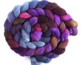 Rambouillet Wool Roving - Hand Painted Spinning or Felting Fiber, Plum Chocolate