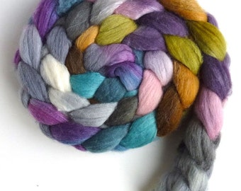 Merino/ Silk Roving (Top) - Handpainted Spinning or Felting Fiber, Quiet Joy